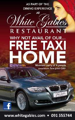 Free Taxi home for 4 persons from White Gables