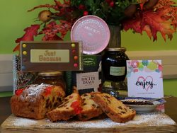 cocooning hamper with products chosen to make you feel better cake, jam, biscuits, chocolate, Turkish delight