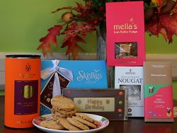 Hamper with selection of biscuits, nougat and chocolates perfect for a birthday present